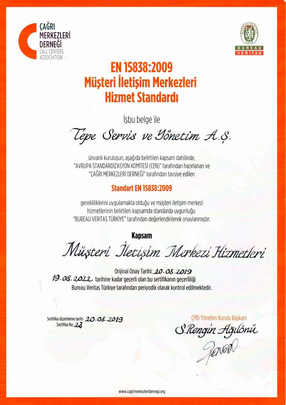 Tepe Çağrı Merkezi EN15838 - 2019